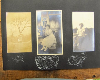 Vintage Victorian Scrapbook Pages - Old Photos with Beautiful Artwork Captions
