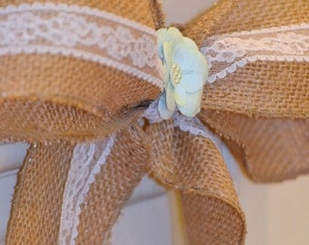 Burlap and Lace Pew Bows // Wedding Decor //Ready to Ship