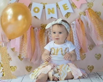 Fabric Tutu First Birthday Outfit | Pink and Gold 1st Birthday Outfit for Baby Girls | Gold Scrap Tutu Outfit