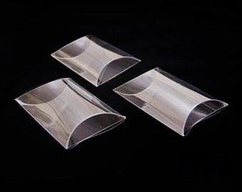 "PVC Invitation clear boxes for party favors, weddings, packaging - Pillow Shape 2.75""x2.5""x0.875"" - 1 dozen"