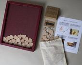 "FALL SALE - Wedding Guest Book Alternative - Wooden Heart - 11x14"" Deep Red Painted Pine Shadowbox Frame - Unique Drop Slot Guest Book"