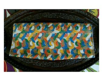 Vintage Lennox Bags Clutch- multicolored lace clutch purse 60s