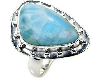 Large Dominican Larimar Ring & .925 Sterling Silver Ring Size 5.75 Jewelry , AA168