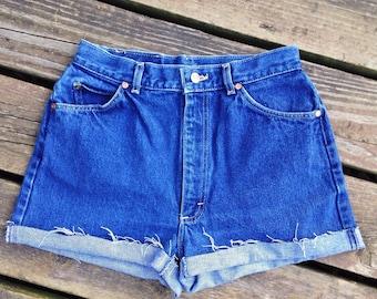 Vintage Lee High waisted Shorts, 90's Lee Denim Cut offs, High Waisted Shorts, 90's High Waisted Denim Shorts, Lee Brand High Waisted Shorts