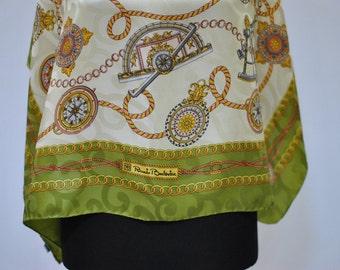 Vintage RENATO BALESTRA equestrian printed silk scarf ...(884)