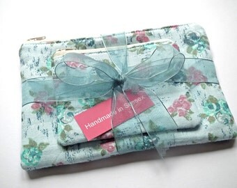 Make-up Bags, Cosmetics Bags, Small Zipped Purses, Blue Floral Fabric, Gift Set, UK Seller