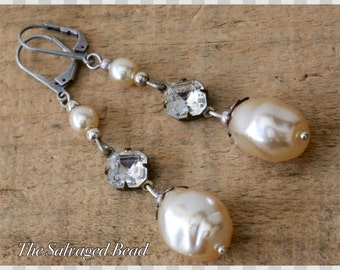 Vintage Bridal Rhinestone and Baroque Glass Pearl Assemblage Earrings, circa 1950's by The Salvaged Bead