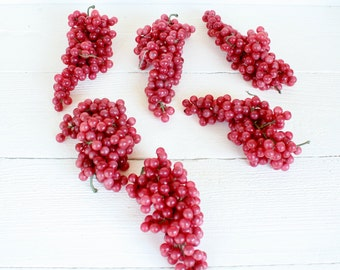 Vintage Red Grape Clusters- Set of Six