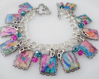 Bright Butterfly Altered Art Charm Bracelet