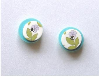 Floral Dusky Blue Riveted Stud Earrings 005
