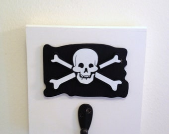 Boys Pirate Theme Single Wall Hook Board Jolly Roger Skull And Crossbones Pirate Room Decor