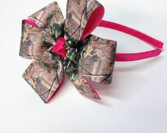 Girls Mossy Oak Camouflage Headband Teen Hair Accessory Camo Hair Bow Green Brown Tan Camo Print With Hot Pink Headband