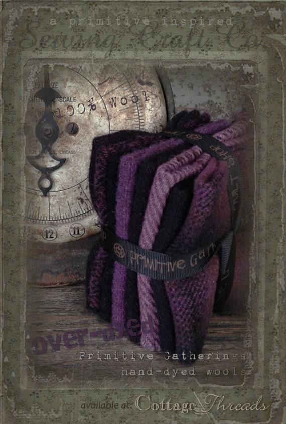 Hand Dyed 100 Percent Wool Bundle Color Grape Primitive