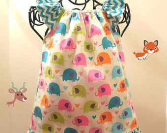 Baby Girls Neon Elephants and Hearts Flutter Sleeve Ruffle Peasant Dress Size 9-12 Months Last One & READY TO SHIP