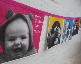Personalised fabric bunting, customised photo bunting, monkey flags, child bunting, name banner