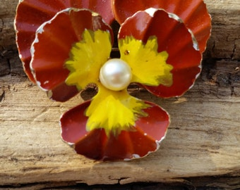 Weiss floral pansy brooch painted and pearl vintage