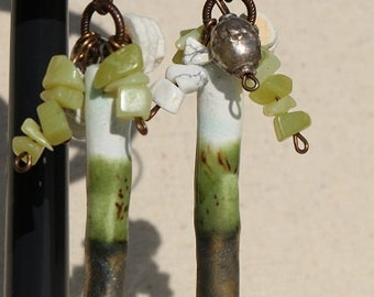 Lemon Olive Jade, Ostrich Egg and Reptile Bronzy Tip Earrings