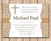 Baptism Invitation | First Communion, Boy - 1.00 each printed or 10.00 DIY file