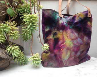 Womens Carryall Tote, Dyed canvas tote bag, Market bag, Large canvas tote bag, Tie dye tote, Purple tote
