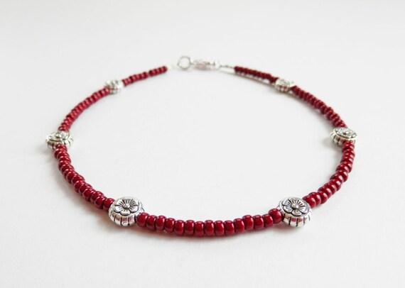 Items Similar To Red Beaded Ankle Bracelet, Dark Red. Moon Rings. Musical Note Pendant. Initial Rings. Purple Amethyst Bracelet. Engagement Ring Diamond. Sparkle Necklace. Gemstone Bracelet. Gold Bands