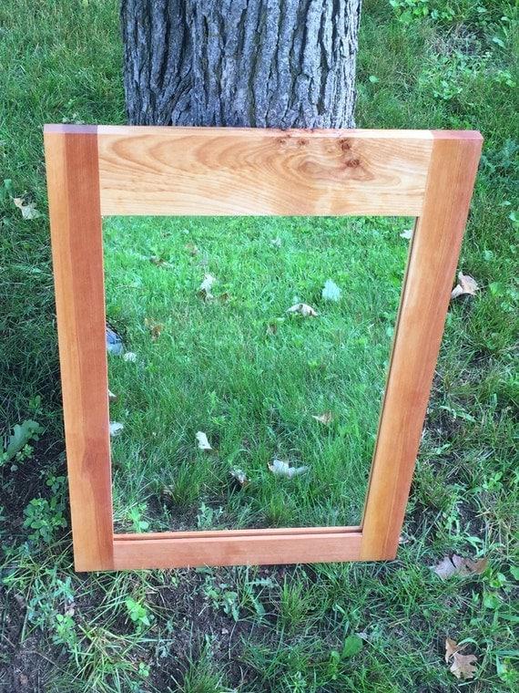 Cherry Wood Framed Mirror Bathroom Mirror By Alongtheridge