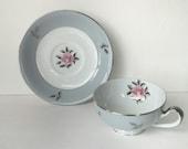 blue tea cup with saucer set, porcelain espresso coffee cup, Seyei Bella Maria, vintage fine china housewarming wedding couple gift idea