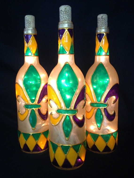 Harlequin Trimmed Mardi Gras Fleur De Lis Wine Bottle Lamp