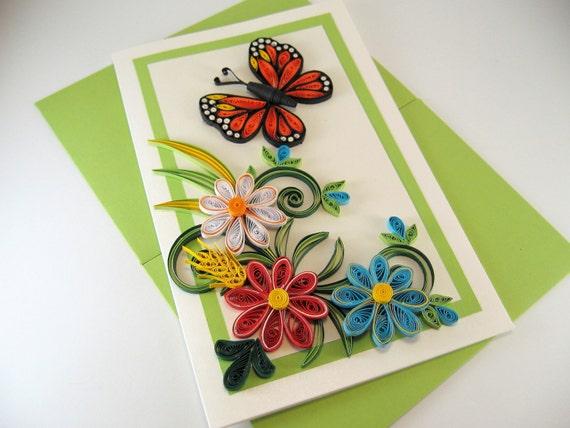 Book Cover Paper Quilling : Carte danniversaire maman spéciale avec piquants papillon et