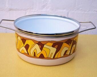 Large vintage Italian enamel pan