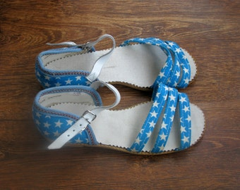 Vintage Women Cotton Unused Shoes 2.5-3M - Blue Junior Sandals for Girls - Eco-friendly shoes- Made in USSR
