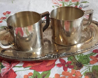 Vintage Silverplate Creamer and Sugar Set with Tray