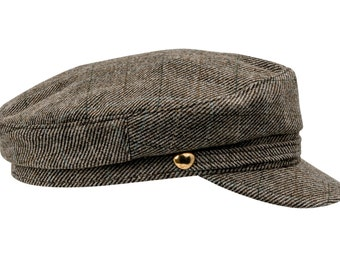 Greek Fisherman / Breton style Cap made of High Quality Wool Cloth - olive check