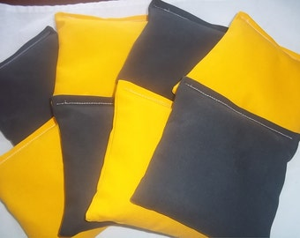 8 ACA Regulation Cornhole Bags - 4 Black and 4 Yellow/Gold