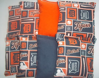 8 ACA Regulation Cornhole Bags - MLB Detroit Tigers Block Print on Orange & Blue