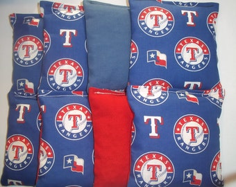 8 ACA Regulation Cornhole Bags - MLB Texas Rangers with Blue and Red Backs