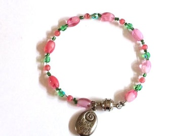 Beaded Pink and Green Crystal Bracelet, Pastel Lime and Mauve Beaded Laugh Often