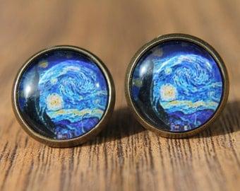 Van Gogh Earrings, Starry Night, Art Earrings, Studs, Stud Earrings, Post Earrings, Small Studs, Glass Dome Earrings