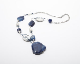 Judith Polished Blue and White Stone Necklace