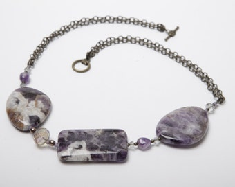 Lara Amethyst and Crystal Necklace