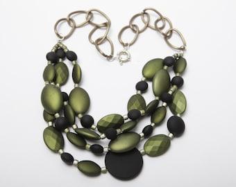 Sabrina Irridescent Green Beaded Necklace
