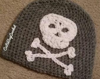 Crochet Skull and Crossbones Beanie