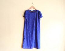 Vintage 70s Sheer Floral Periwinkle Dress - Tent Dress 70s Dress Large Maxi Dress Boho Dress Summer Dress Floral Dress XL 70s Clothing