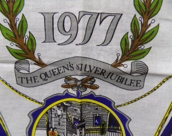 1977 Tea Towel Depicting the Queen's Silver Jubilee, like new