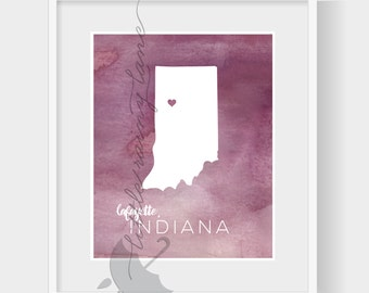 State Art, Indiana Map, watercolor Indiana print - 76 Colors to choose from and faux gold foil