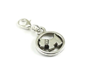SALE Dog Zipper Pull Purse Charm Silver Clip On Charms