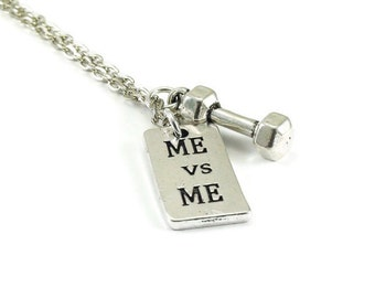 Me vs Me Necklace with Dumbbell Silver Chain Inspirational