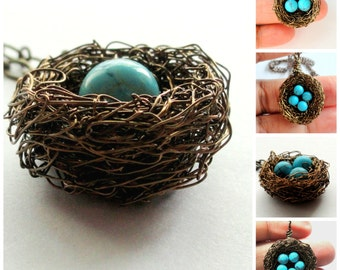 1,2,3,4,5,6,7,8,9,10,11,12,Personalized,bird nest necklace,turquoise nest necklace,bronze,nest,necklace,Robin egg nest necklace,robin nest
