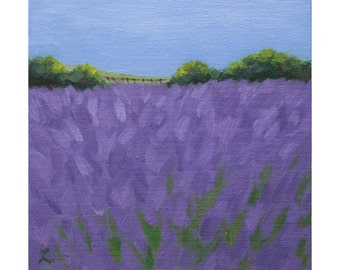 Oil Painting ''Lavender Field in Provence'' Landscape Painting, Fine art, Oil on Canvas Board, Home Decor 15x15 cm