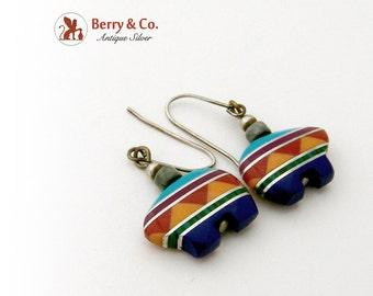 Native American Bear Form Stone Dangle Earrings Sterling Silver
