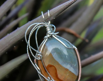 Jasper Silver wire wrapped pendant